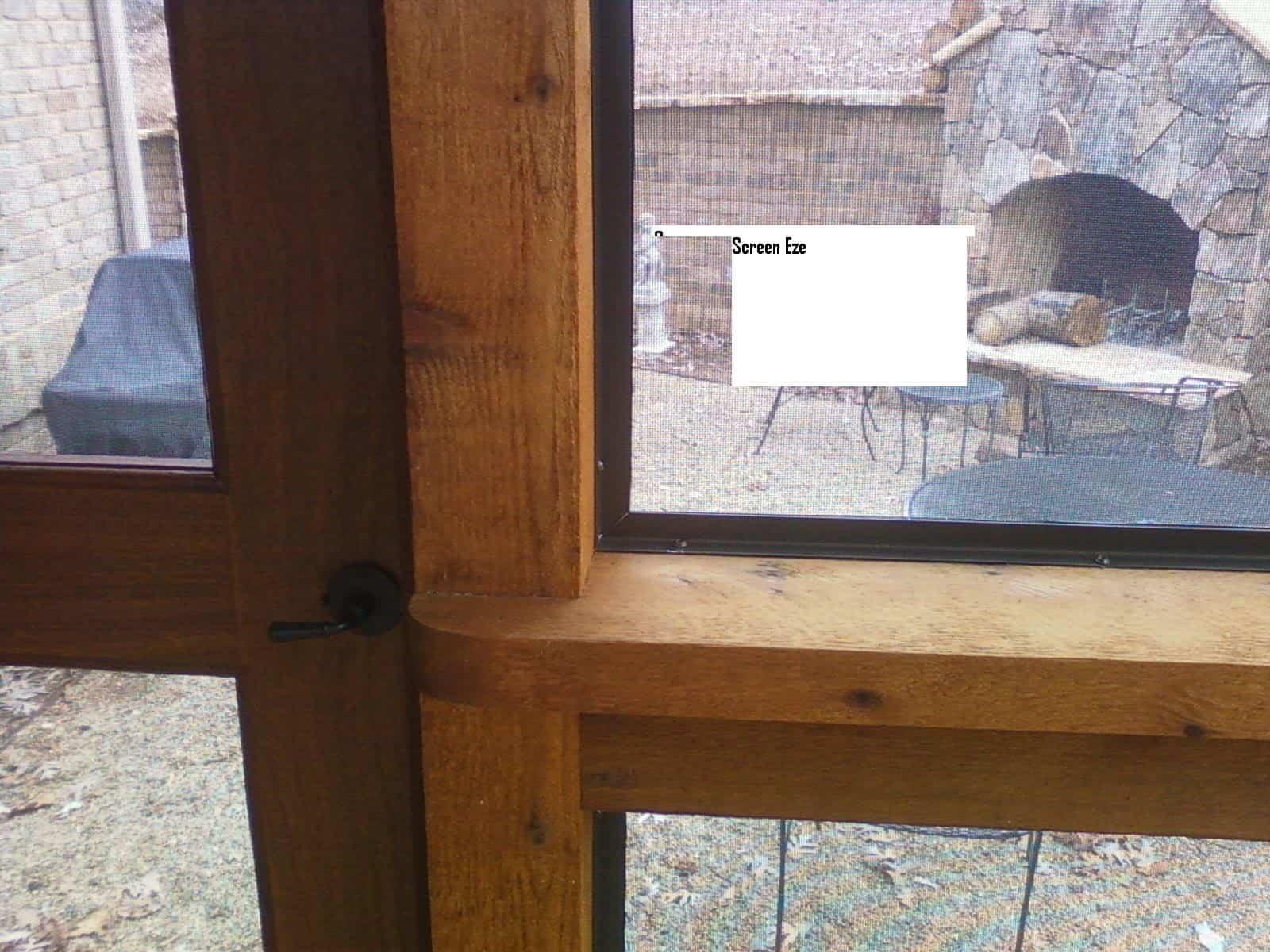 Cedar screen room details Mahoggany door